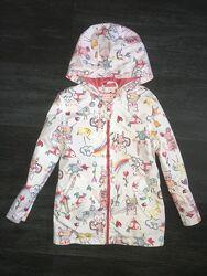 Красивая куртка, ветровка, парка в зверюшки от Nutmeg, 4-5 лет. Складываетс