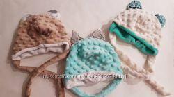 Шапка, шапочка зимняя, демисезонная, из плюша. Для новорожденного. На выписку.
