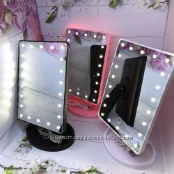 Зеркало с подсветкой для макияжа 22 led, три цвета - черное, белое, розовое