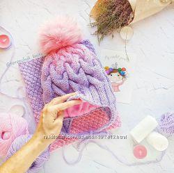 Детская шапочка косами и снуд  шарф ручной работы