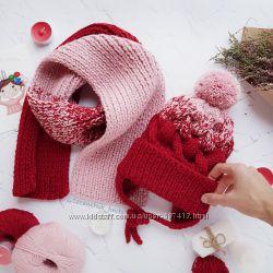 Детские вязаные комплекты ручной работы шапка косами снуд