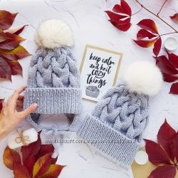 Комплект шапок Фемили лук мама дочка ручной работы family look