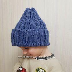 Детская вязаная шапка резинка тыковка ручной работы джинс