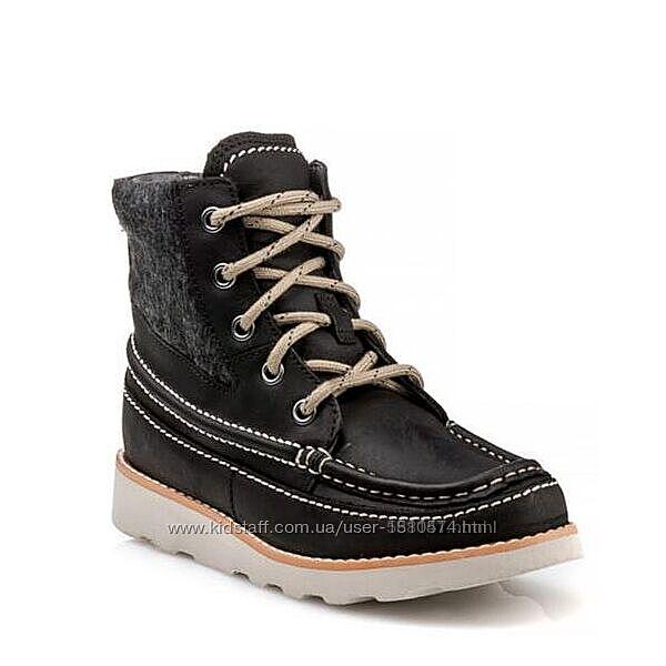 Clarks Crown Spirit Black кожаные ботинки