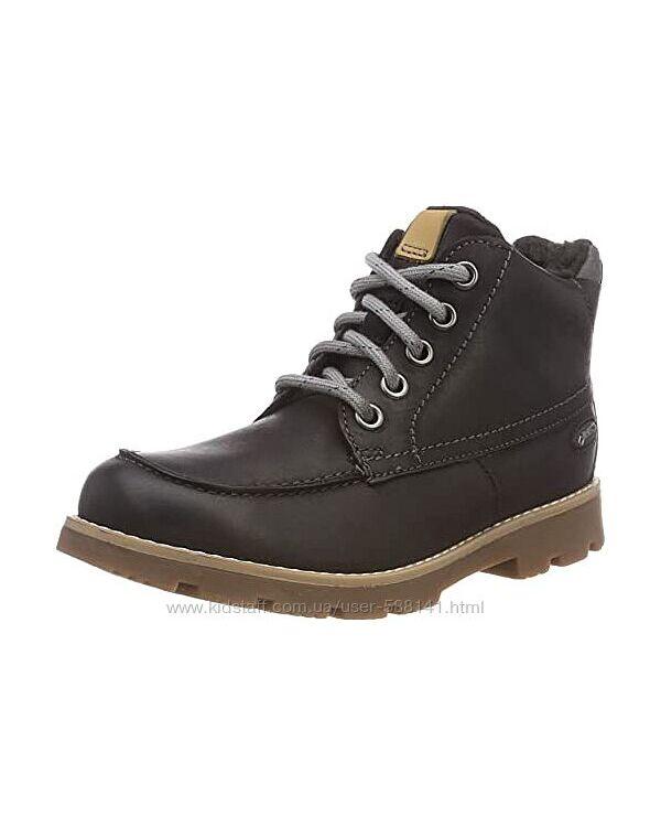 Clarks Comet Moon GTX Black зимние кожаные ботинки