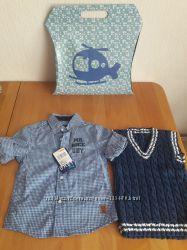 Рубашка с длинными рукавами фирмы Baby blue на 86 см.  жилетка