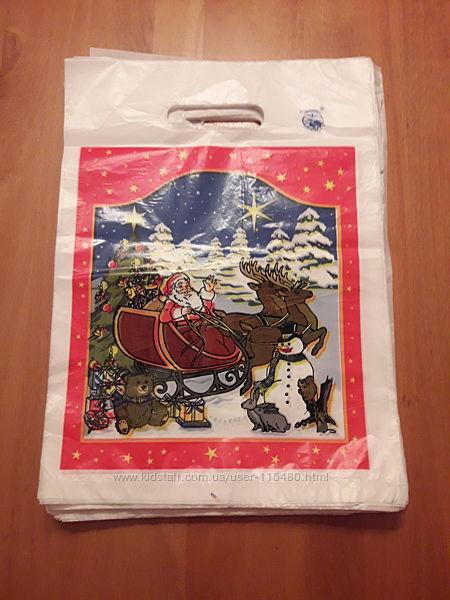 Пакеты 3525 см для упаковки подарков Дед мороз пакет с ручкой