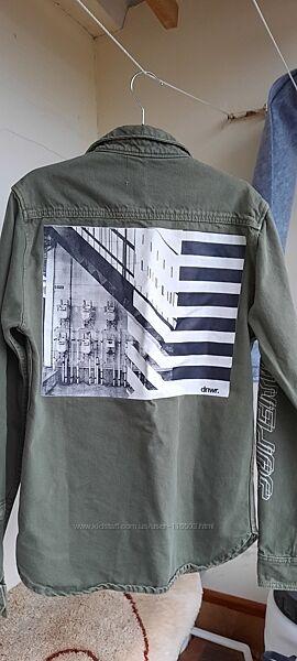 Рубашка джинсовая ZARA, цвет хаки р. S