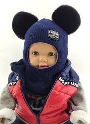 Детская шапка шлем 48-50 50-52 52-54 54-56 размер теплые шапки