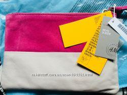 H&M premium pink neon beige замшевый клатч
