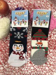 Новогодние носки детские с махрой Ekmen размер 4-6 лет