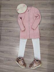 Пальто кашемировое розовое на девочку. Италия