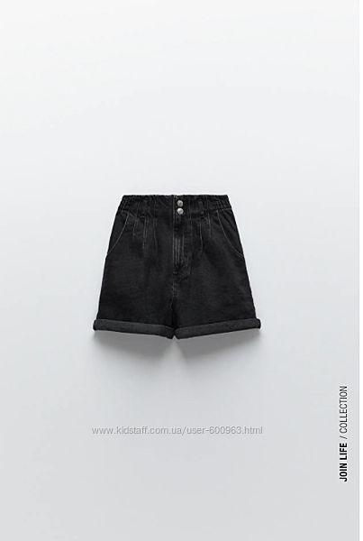 Новые черные джинсовые шорты zara