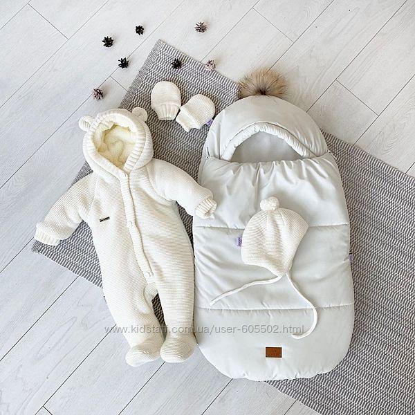 Зимний набор для новорожденного кокон-конверт, человечек, шапочка