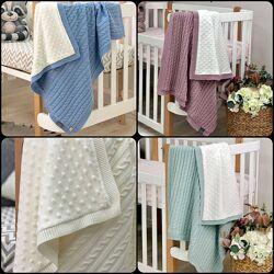 Детский вязаный плед-одеяло с мягкой, плюшевой подкладкой в ассортименте