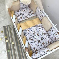 Набор постельного белья в кроватку с бортиками подушками и косой Косули