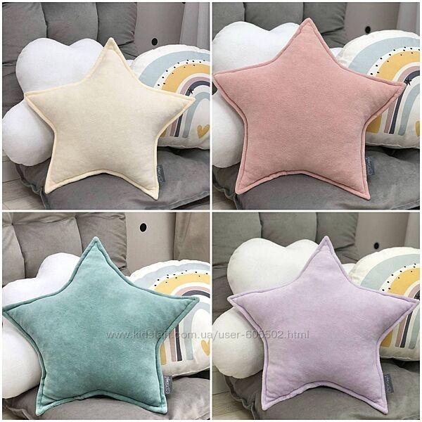 Детская декоративная подушка, бортик звезда велюр в ассортименте