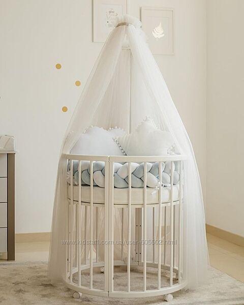 Балдахін для дитячого ліжечка пудра, білий, мята, блакитний