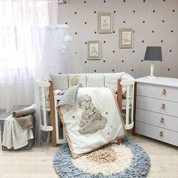 Дитяча постільна білизна в ліжечко, бортики, косичка конверт-плед Овечка