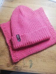 Комплект шапка и хомут для девочки 7-9 лет