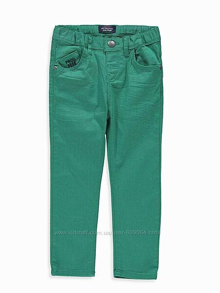 Хлопковые Зеленые Брюки-116-134см-Джинсы на хлопк. подкладке-116,128и134