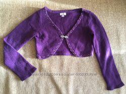 Кофта болеро фиолетовая на девочку 7-9 лет