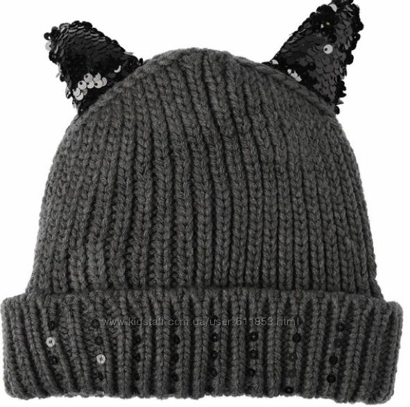Детская шапка для девочки флис 50-52см, Н&M, паетки
