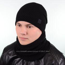 Комплекты мужские из шапки и снуда на флисе 56-59 разные цвета