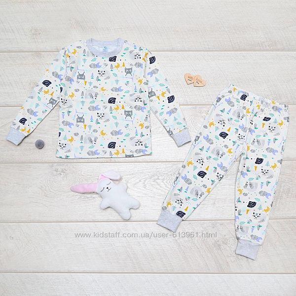 Теплая пижама футер с начесом 92-116 см Minikin