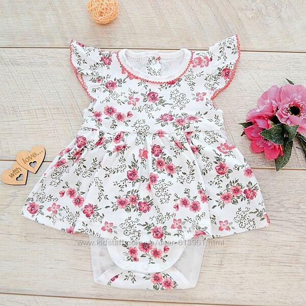 Платье боди хлопковый Цветы Миникин р. 68, 74, 80