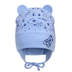 Демисезонная двухслойная шапка с ушками для мальчика 40-44