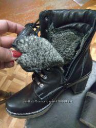 Ботинки зимние 24, 5 см. Кожа. Новые. На широкую ногу