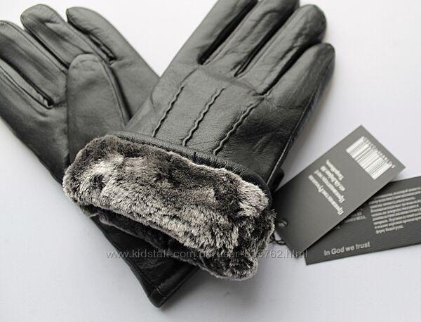 Теплые мужские кожаные перчатки зимние мех