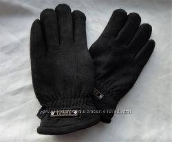 Теплые мужские флисовые перчатки с мехом