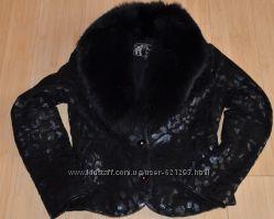 Куртка кожаная с мехом лисы р. М