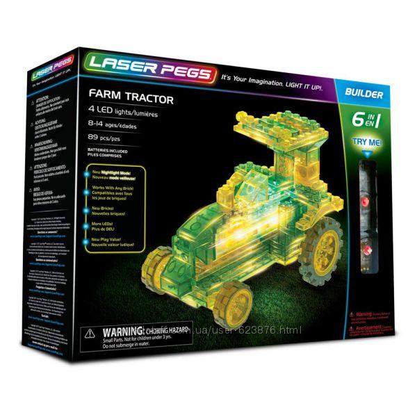 Конструктор Laser Pegs Farm Tractor 6-in-1 Building Трактор 6 в 1 светится
