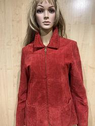 Куртка пиджак красная натуральный замш.