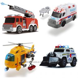 Функциональные машины Dickie Toys. Пожарная, Полицейская, Скорая, Вертолет