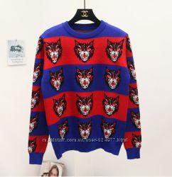 Яркий стильный и очень тёплый свитер свитшот реплика Gucci