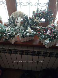 Веночки на стол, новогодние венки, фонарики, композиции, новый год, декор