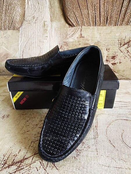 Туфли - мокасины кожаные с перфорацией Kangfu, р. 35
