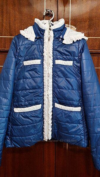 Деми курточка синяя, жилет , блуза, гольф