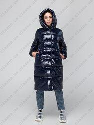 Длинный лаковый теплый пуховик куртка