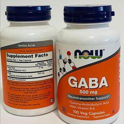 Now Foods, ГАМК, 500 мг, 100 капс. , GABA