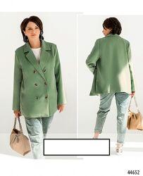 Стильный двубортный пиджак батал Цвета