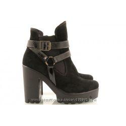 Ботинки на платформе и каблуке замша и кожа