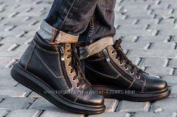 Зимние короткие ботиночки кожа