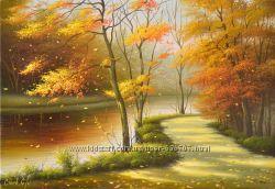 картина  маслом Золотая осень 35х50