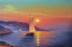 Картина маслом  Рассвет над Ялтой 40х60