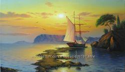 Картина маслом Тихая гавань 40х68, 5